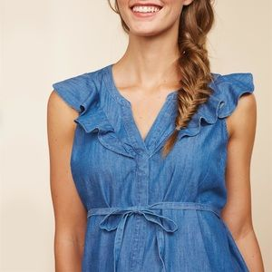 Maternity chambray top